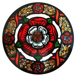 STAINED GLASS WINDOW ART - STATIC CLING  DECORATION -  TUDOR ROSE & CHAPLET