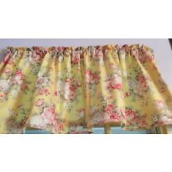 Yellow Valance Pale Pink Shabby Chic Roses Window Curtain Cotton 43''W x 15''L