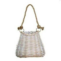 Basket White Washed Finish Mini Hanging Woven Willow 5.5 x 6 inch Country Decor