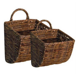 Hanging Basket Set/2 Natural Finish Woven Willow Country Floral Wall Decor