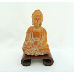 Kyпить Vintage Chinese Hand Carved Gemstone Buddha Figurine on Wood Stand на еВаy.соm