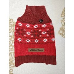 eddie bauer dog sweater color red size XS