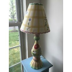 Kyпить Vintage Hand Painted,Hand Carved Wooden Lamp with hand painted shade на еВаy.соm