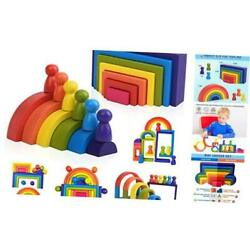 Kyпить Wooden Rainbow Stacking Game Learning Toy Geometry Building Blocks for  на еВаy.соm