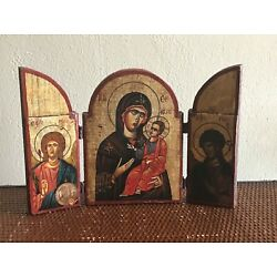 Kyпить Vintage Hand Painted Goldleaf Icon Wood Tryptich Mary Jesus w/Certificate A5 на еВаy.соm