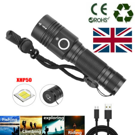 img-90000 Lumens LED Flashlight USB Rechargeable Torch Pocket Lamp With Magnet BE