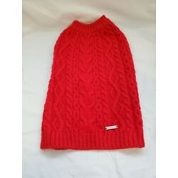 NWT Blueberry Pet Brick Red Wool Acrylic Cable Knit Dog Sweater 12'' Med. #1678