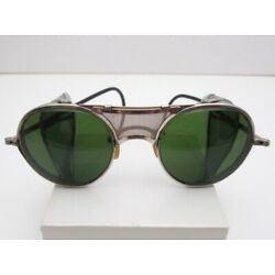 30's BAUSCH & LOMB GREEN SAFETY GOGGLE MOTORCYCLE STEAMPUNK RARE MESH NOSEBRIDGE