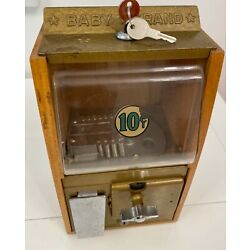 Antique Victor Baby Grand 1950 oak case gumball candy vending machine with keys