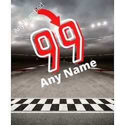 Racing Decal Custom Name & Number Wall Personalized Removable Vinyl Sticker