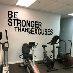 Be Stronger Than Your Excuses Quote Wall Sticker Gym Classroom Motivational Deco