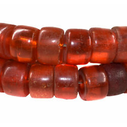 Bohemian Red Orange Trade Beads Large Flat Ended Africa 36 Inch