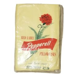 Red Label Pepperell Vintage Fine Muslin 2 Yellow Pillowcases NEW