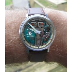 Vintage Accutron Spaceview 1967 Stainless Steel Chapter Ring  - Serviced