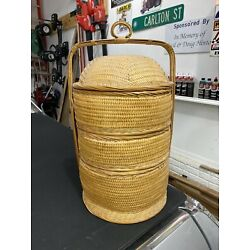 Extra Large 3 Tier 24 Inch Tall CHINESE WEDDING BASKET Woven Wicker and Bamboo