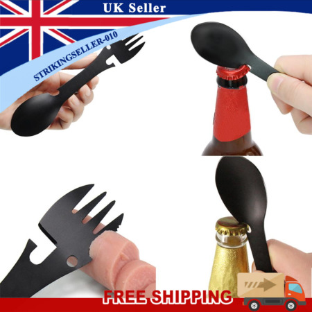 img-5 in 1 Outdoor Camping Survival Tool Fork Knife Spoon Bottle/Can Opener