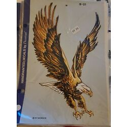 Vtg NOS 1977 Handpainted Decal By Decorcal Gold And Black Eagle B - 21 11''x6''