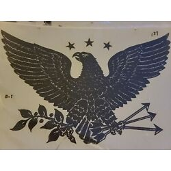 Vintage 1978 Handpainted Decal By Decorcal Black Eagle & Stars 11''x6''