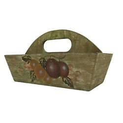 Kitchen Décor Brown Decorative Wooden Basket Box with Carry Handle 11.5 x 6.5 in