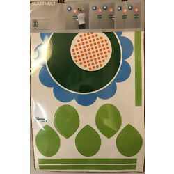 IKEA SLATTHULT Wall Decals Floral Green Blue Orange Pink NEW SEALED