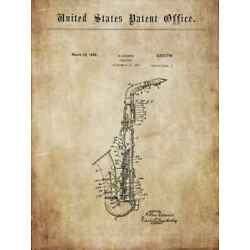 Old, antique saxophone CONN: ideas, constructions 1936+ for deco / poster