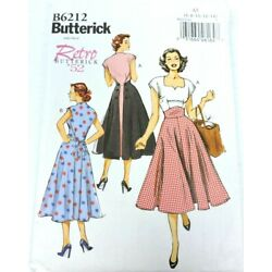 Butterick B6212 Sewing Pattern Size 6-14 Dress Retro 1952 Pullover Back Wrap