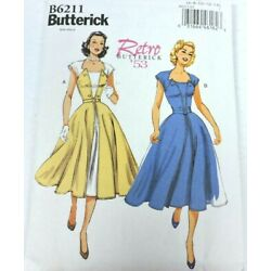 Butterick B6211 Sewing Pattern Size 6-14 Dress Retro 1953 Pullover Front Wrap