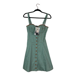 Betsey Johnson Polka Dot Mint Dress Fit Flare Button Down Vintage Size 4 NWT
