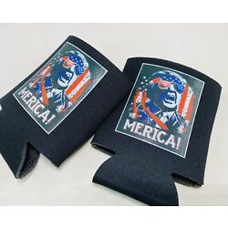 DONALD TRUMP 2020 AMERICA Lot 2 Can Cooler Coozie Koozie MAGA USA Flag Gift