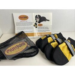 Muttluks All Weather Dog Boots Yellow Black Leather Fleece Lined Unused