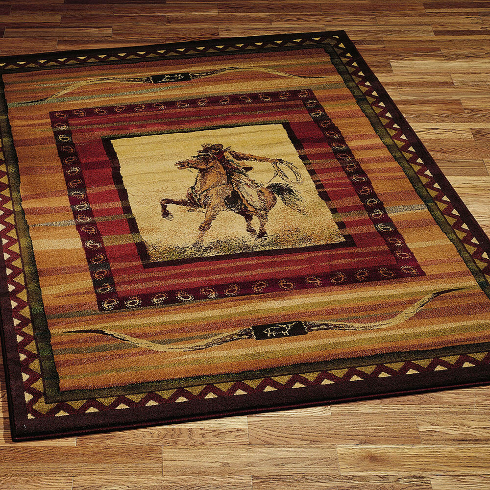 "Rustic Kitchen Area Rugs: 8x11 (7'10"" X 10'6"") Western Lodge Horse Cowboy Rodeo"