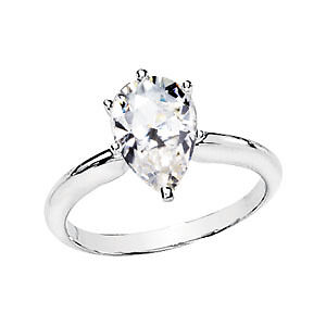 1 ct pear moissanite solitaire engagement ring 14k tt w ebay. Black Bedroom Furniture Sets. Home Design Ideas