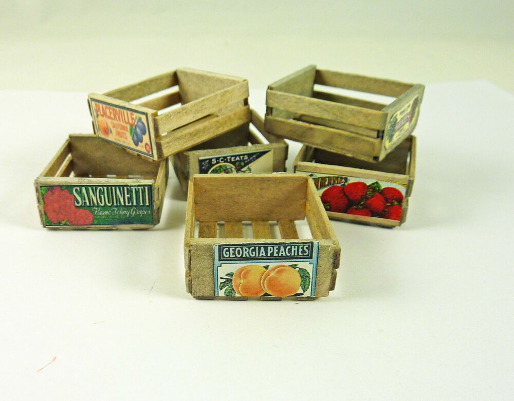 dollhouse miniature vintage weathered fruit crate small