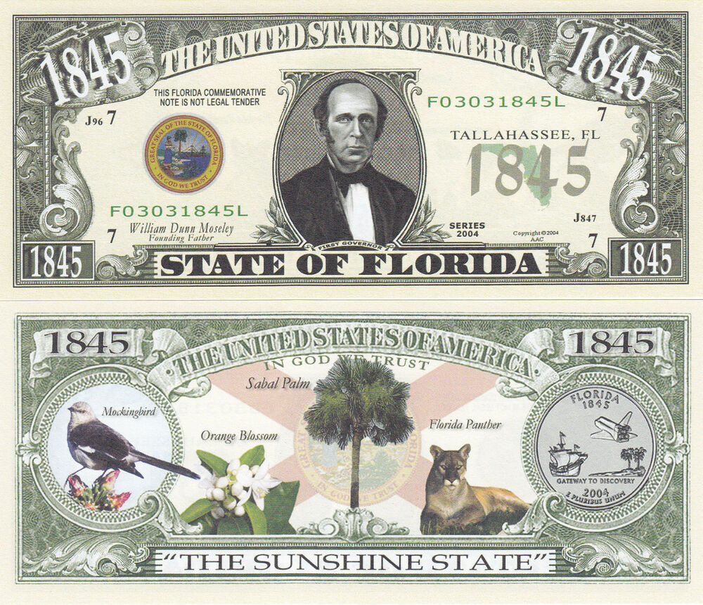 50 Florida Fl State Quarter Novelty Currency Bills Lot Ebay