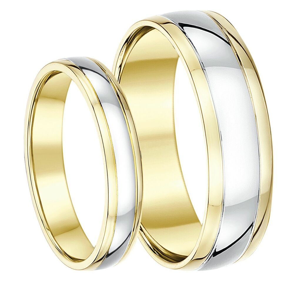 9ct Two-Colour Yellow And White Gold His & Hers Wedding