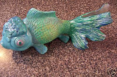 Unique heavy polyresin turquoise blue green gold fish koi for Unusual pond fish