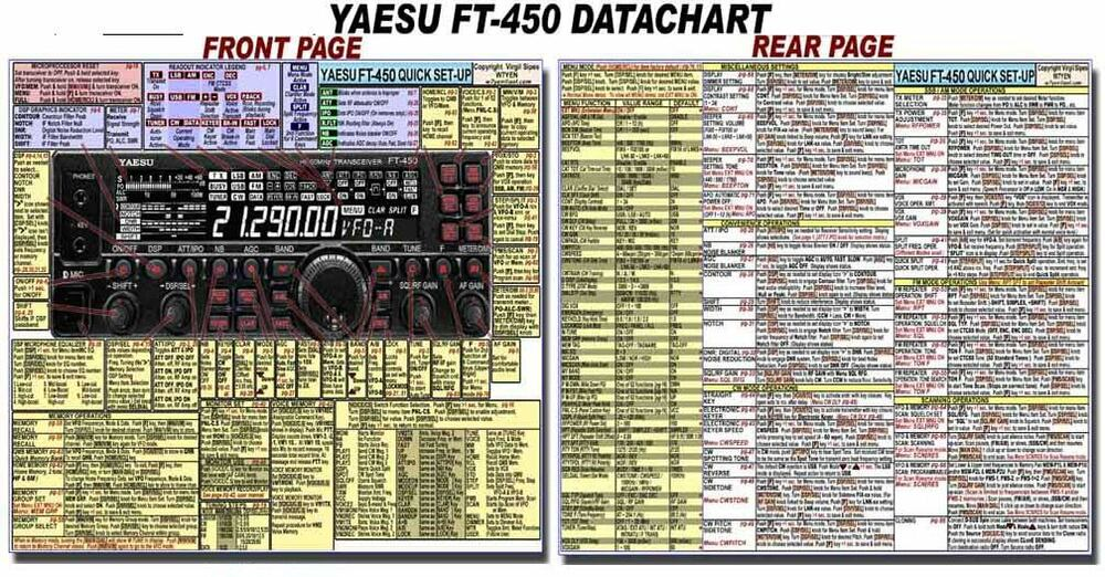 Yaesu Ft 450 Ft 450d Amateur Ham Radio Datachart 8 1 2 X 11 - Wiring Diagram