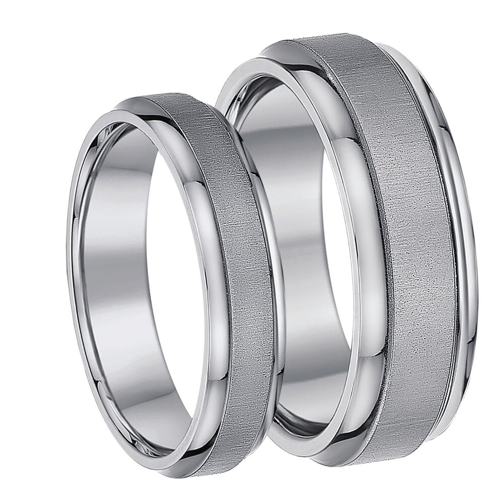Titanium His And Hers Wedding Rings Matt Polished 5 7mm Solid Tit