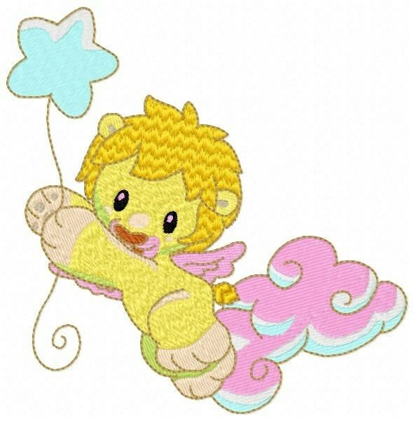 Baby animal angels embroidery designs on