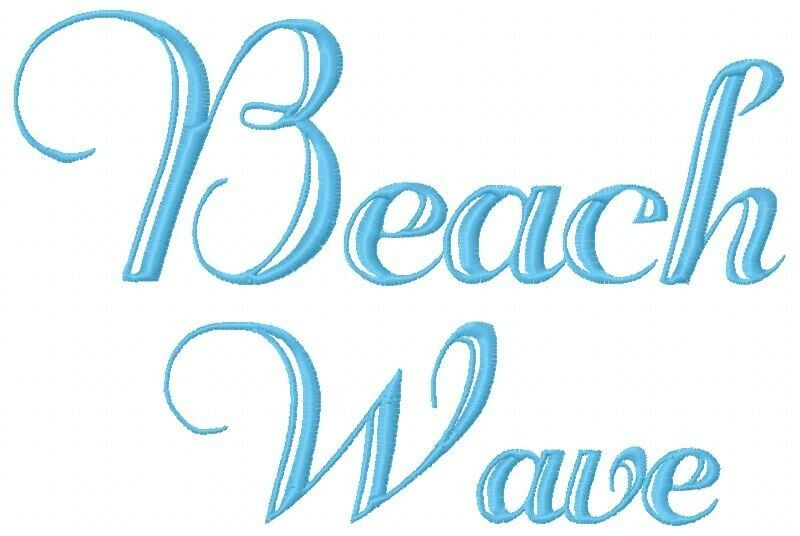 Beach wave font machine embroidery on cd 213 designs in 3 for Beach house embroidery design