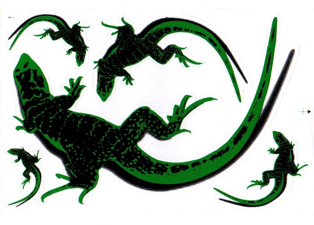 Pl046 planche stickers autocollants gecko vert sticker for Auto collant mural
