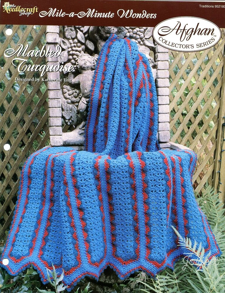 Marbled Turquoise Afghan Mile A Minute Wonders Crochet Pattern