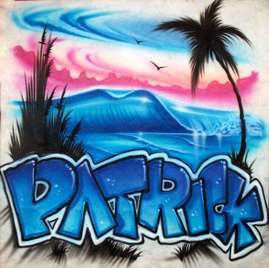 Airbrushed Beach Wave Scene T Shirt With Personalize Graffiti Style