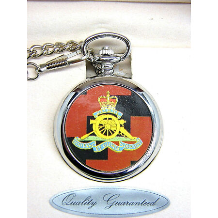img-THE ROYAL ARTILLERY GIFT BADGE POCKET WATCH FREE KEYRING ARMY MILITARY BOXED