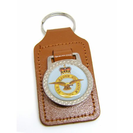 img-THE ROYAL AIR FORCE RAF MILITARY BADGE DETAIL LEATHER KEYRING KEY FOB GIFT