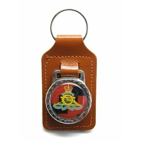 img-THE ROYAL ARTILLERY ARMY MILITARY BADGE DETAIL LEATHER KEYRING KEY FOB GIFT