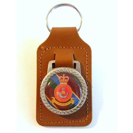 img-THE KINGS SHROPSHIRE LIGHT INFANTRY BADGE CRESTED MILITARY ARMY LEATHER KEYRING