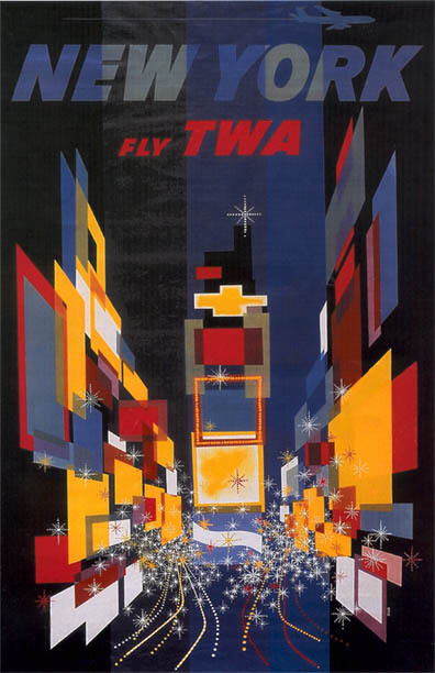 vintage twa new york travel poster 11 by 17 glossy ebay. Black Bedroom Furniture Sets. Home Design Ideas