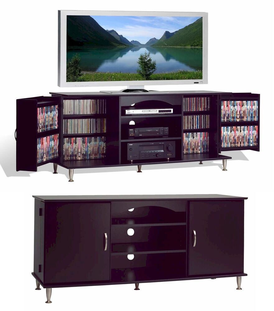 60 plasma lcd tv stand 462 cd 212 dvd cabinet rack new ebay for Tv media storage cabinet