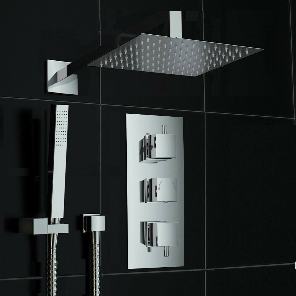 Concealed 2 Way Square Wall Mounted 200mm Thermostatic